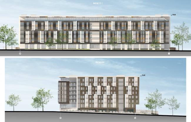 Гостиничный комплекс на ул. Островитянова. Фасады © ГранПроектСити