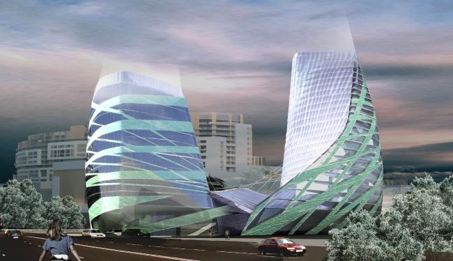 Концепция здания олимпийского комитета России. Вариант 1 © ГранПроектСити