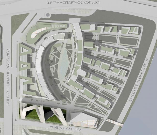 Концепция здания олимпийского комитета России. Вариант 2. Генеральный план © ГранПроектСити