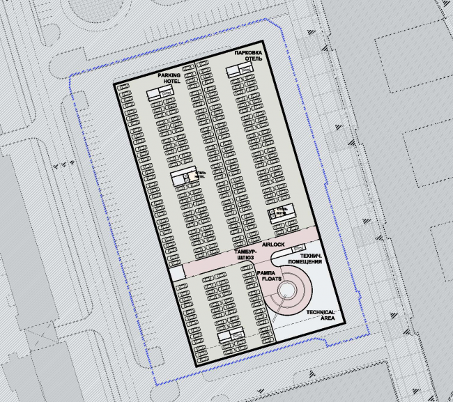 Plan of the typical floor with a parking garage © SPEECH
