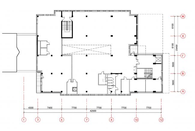 Магазины шаговой доступности «Стереопара». Здание № 69. План 1 этажа © Архитектурное бюро «Богачкин и Богачкин»