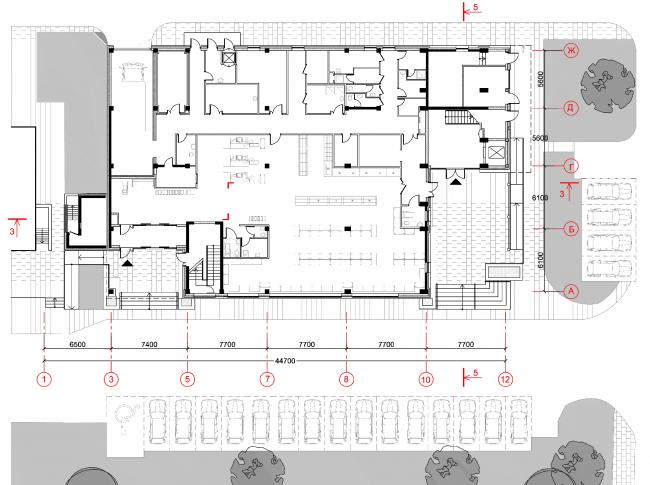 Магазины шаговой доступности «Стереопара». Здание № 45А. План 2 этажа © Архитектурное бюро «Богачкин и Богачкин»