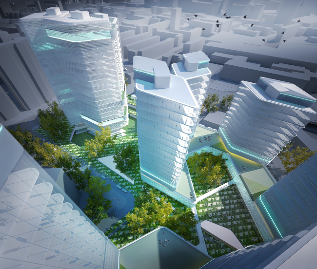 "The project of ""Annenhof Grove"" residential complex at the Krasnokazarmennaya Street © 4izmerenie"