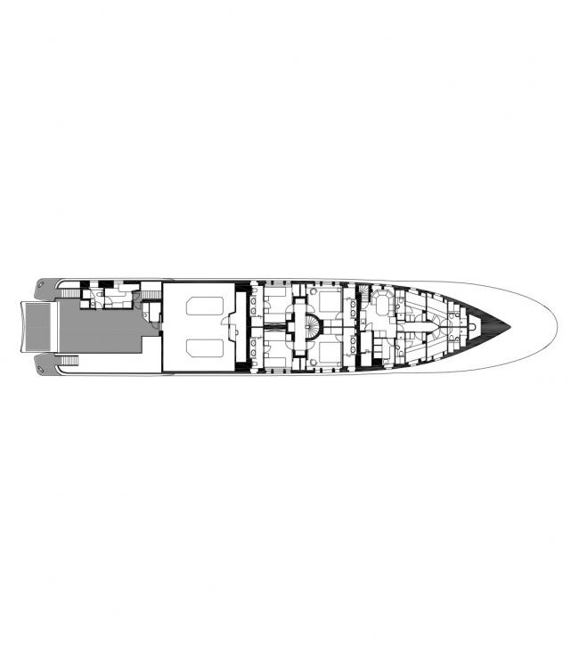 Plan of the bottom deck © Designed by Erick van Egeraat