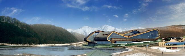Горно-туристический центром с бассейном, аквапарком и spa-центром в г. Сочи © Архитектурное бюро «А.Лен»