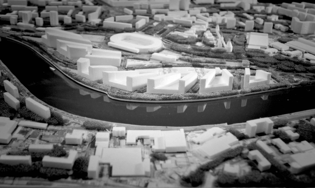 Photo fixation of the model. Top view. Concept of a multifunctional residential complex with objects of social infrastructure © Ostozhenka