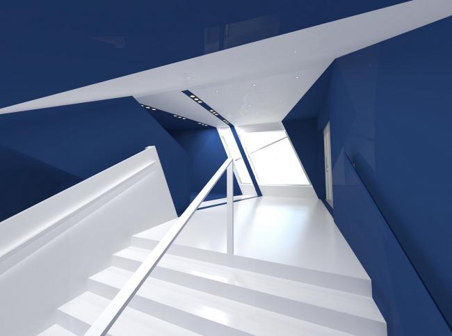 Интерьеры спорткомплекса СКА. Лестница © «А.Лен»