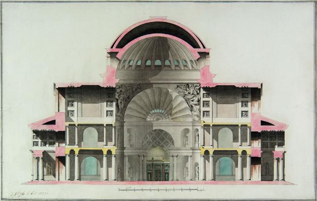 Чарльз Камерон. Разрез Софийского собора в Царском Селе, ок. 1782 г. Фото предоставлено Государственным музеем архитектуры имени А.В. Щусева