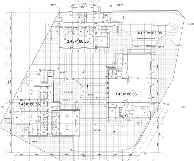 Апарт-отель «Величъ». План 1 этажа © Архитектурная  мастерская Грошева Юрия