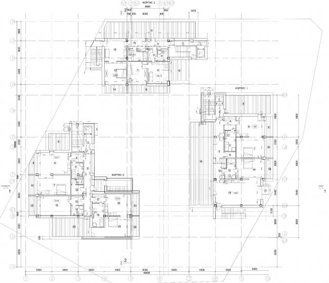 Апарт-отель «Величъ». План мансардного этажа © Архитектурная  мастерская Грошева Юрия