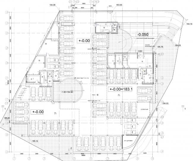 Апарт-отель «Величъ». План автостонки и вестибюля © Архитектурная  мастерская Грошева Юрия