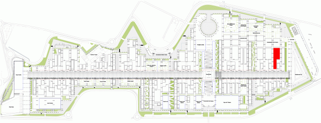 Master plan EXPO 2015, the Russian pavilion marcked in red. Image courtesy by SPEECH.