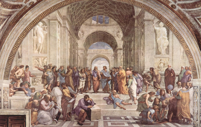 Рафаэль. «Афинская школа». Фреска Станцы делла-Сеньятура в Ватикане. 1509–11