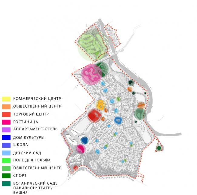 Конкурсный проект архитектурно-градостроительной концепции комплексного развития территории площадью 227 га в Звенигороде. Изображение: «Peter Ebner and friends» и «А. Клепанов А-С-Д»