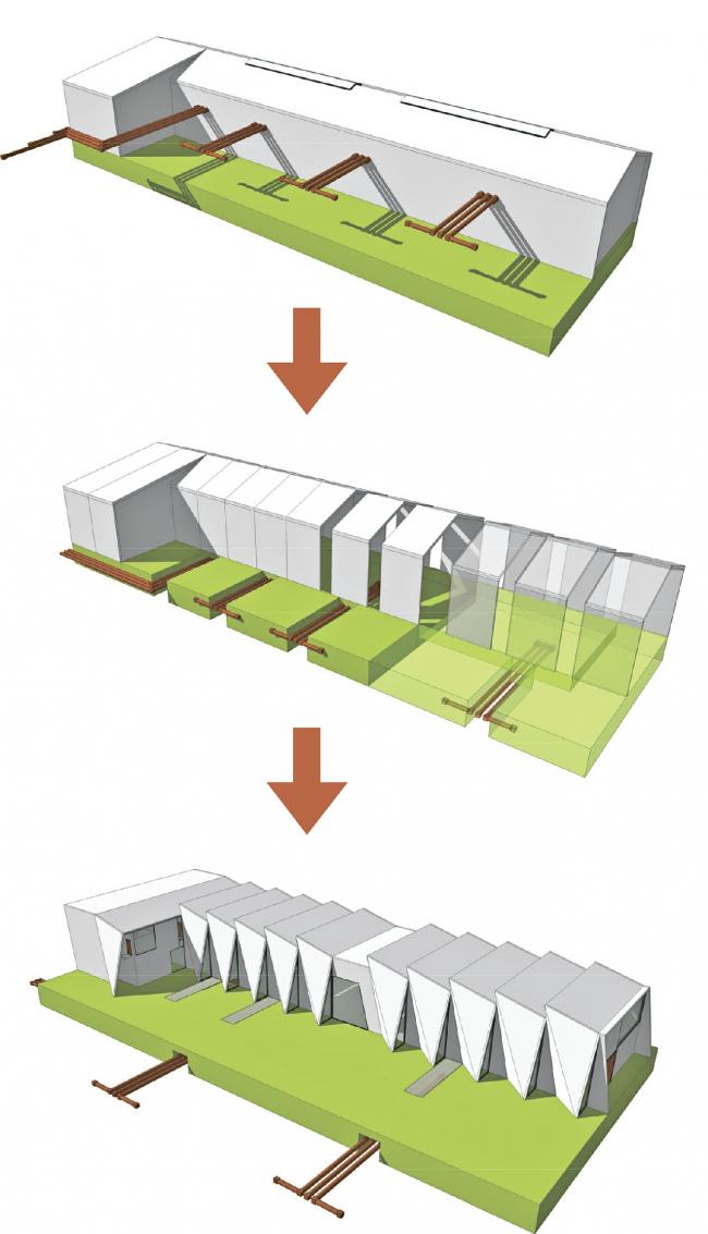 Электростанция в Вайене (Дания). Схема эволюции объема станции. Проектировщик: C.F. Møller Architects. Заказчик: Energinet.dk. Материалы: Rheinzink © C.F. Møller