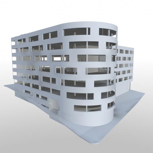 Офисное здание на ул Трубная, бюро «Остоженка», модель из числа показываемых на выставке. Изображение предоставлено АБ «Остоженка»