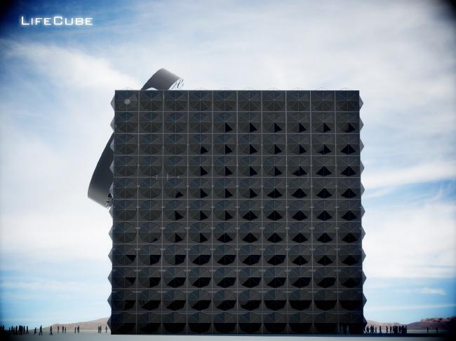 Life Cubе – биоклиматический образовательный центр, боковой фасад © Анна Балдина