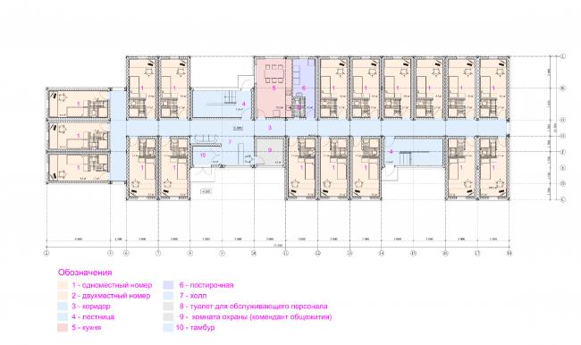 Общежитие для студентов «Трансформер». План 1-го этажа © Кореньков Николай