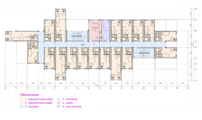 Общежитие для студентов «Трансформер». План 3-го этажа © Кореньков Николай