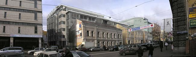 Визуализация - встройка в панораму ул. М. Дмитровки. С противоположной стороны улицы видно, что комплекс зданий задумывался как ступенчатый - этот прием можно назвать одной из устоявшихся тем московского контекстуального строительства последнего десятилетия
