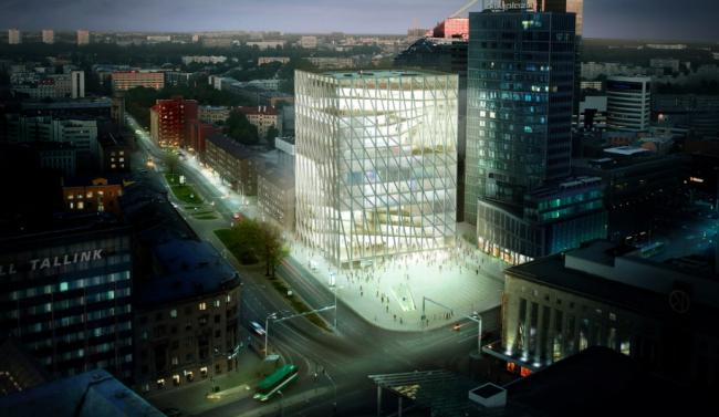 Проект Академии художеств в Таллине, выполненный бюро Effekt, где работал Кристоффер Вайсс. Несмотря на победу в конкурсе, проект не реализован. Вайсс считает ценной саму идею: не застраивать всю площадку, создав перед зданием площадь. Изображение предоставлено Кристоффером Вайссом