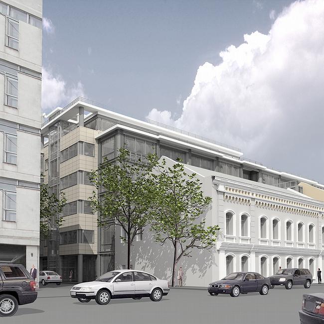 Визуализация. Так здание выглядело в проекте - угол был зафиксирован металлической колонной, которая в готовом здании отсутствует