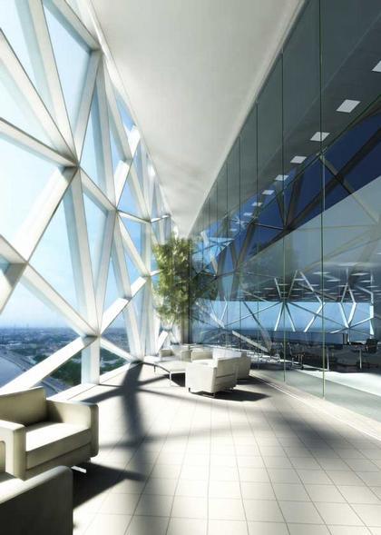 Охта-Центр (Газпром-Сити). Вид структуры застекления изнутри. Проект