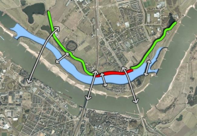 План «Пространство для реки Ваал»: дамбы отодвинуты от берега, новый канал повышает «проходную способность» реки и снижает риск наводнения. На острове возникает новая застройка и рекреационная зона, строятся мосты. Изображение: Ruimte voor de Waal