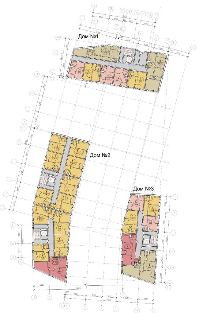 Жилой квартал «Опалиха-village». План типового этажа корпусов жилого дома №1 © Архитектуриум