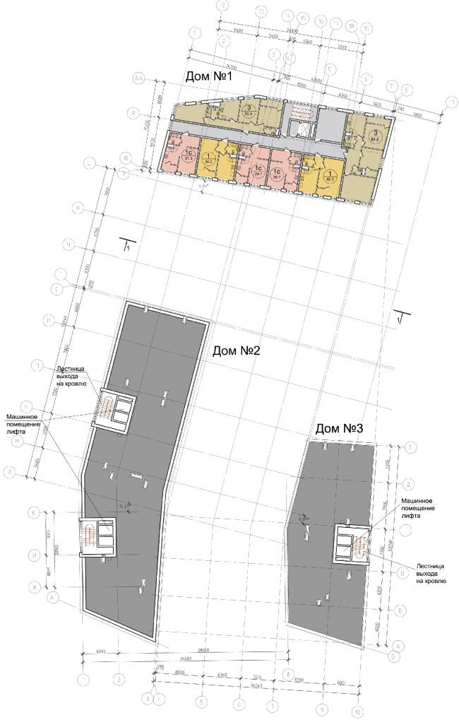 Жилой квартал «Опалиха-village». План 6 этажа корпусов жилого дома №1 © Архитектуриум