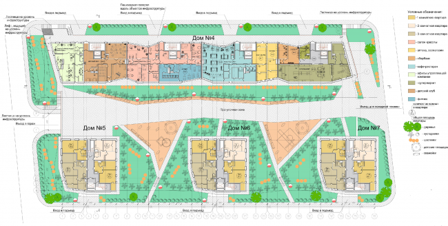 Жилой квартал «Опалиха-village». План 1 этажа корпусов жилого дома №2 © Архитектуриум