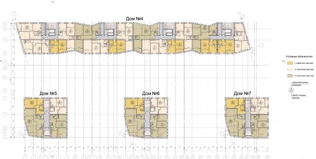Жилой квартал «Опалиха-village». План типового этажа корпусов жилого дома №2 © Архитектуриум