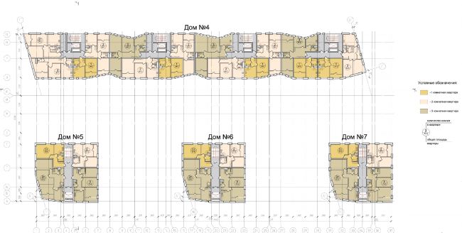 """Plan of the typical floor of the units of Residential Building #2 © """"Architecturium"""""""