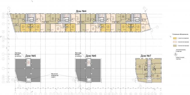 Жилой квартал «Опалиха-village». План 6 этажа корпусов жилого дома №2 © Архитектуриум