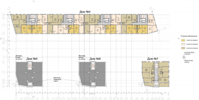 """Plan of the sixth floor of the units of Residential Building #2 © """"Architecturium"""""""