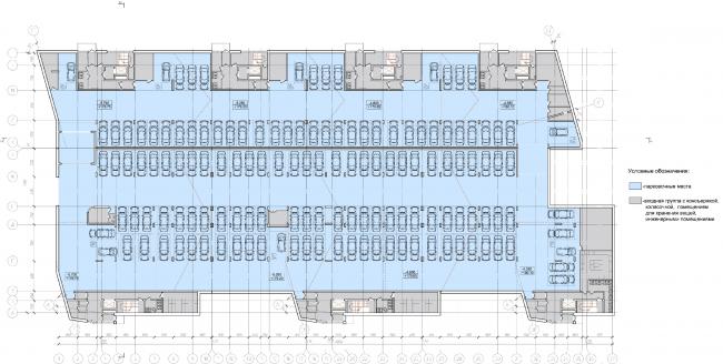 Жилой квартал «Опалиха-village». План подземной автостоянки корпусов жилого дома №2 © Архитектуриум