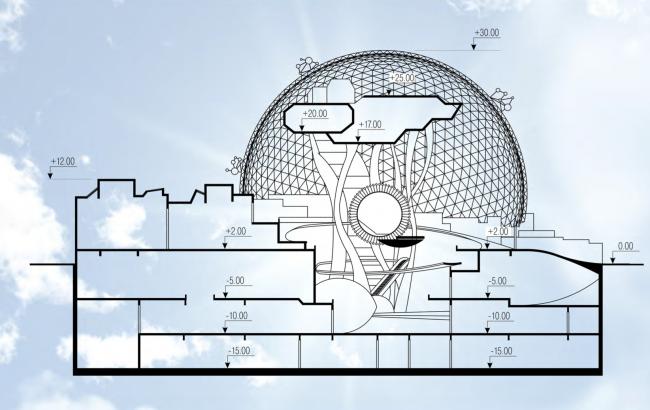 Разрез. Концепция павильона Атомной Энергии на ВДНХ. Разрез © Архитектурная мастерская Сергея Эстрина