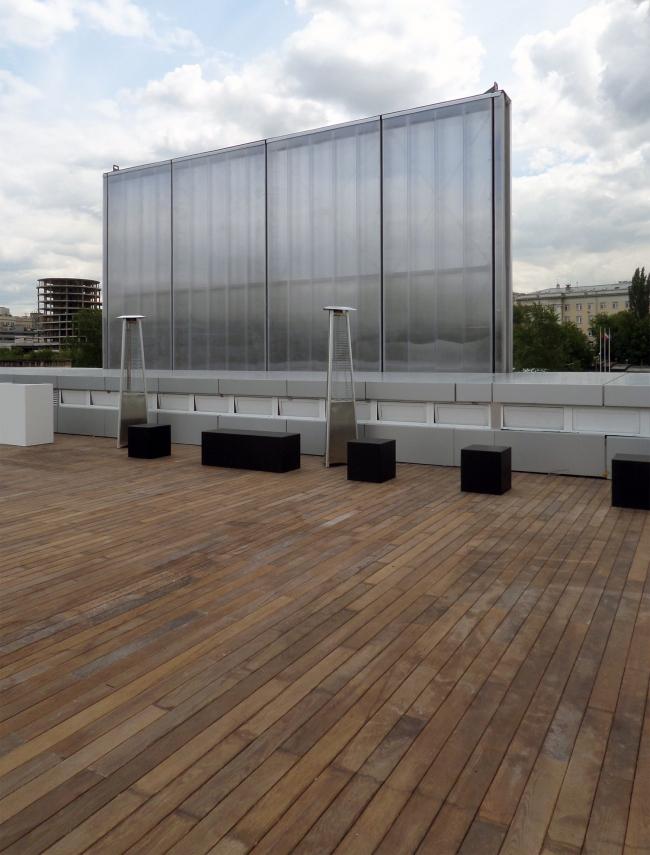 Вид подъемной панели главного фасада с обратной стороны, с террасы на крыше. Фотография © Илья Мукосей