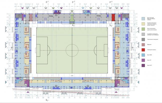 Многофункциональный комплекс футбольного стадиона «Спартак». План 1 этажа © ГрандПроектСити