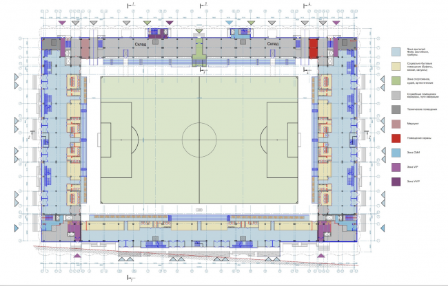 "Multifunctional complex of ""Spartak"" football stadium. Plan of the 1st floor © GrandProjectCity"