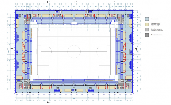 """Multifunctional complex of """"Spartak"""" football stadium. Plan of the 2nd floor © GrandProjectCity"""