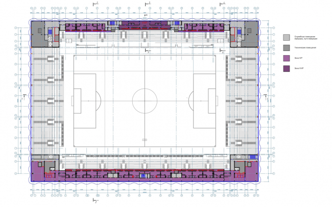 """Multifunctional complex of """"Spartak"""" football stadium. Plan of the 3rd floor © GrandProjectCity"""