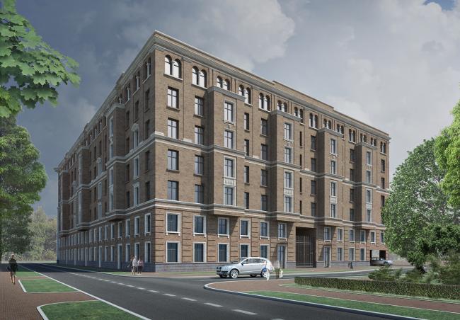 Multiapartment building with inserted premises on the Morskoy Avenue. Northwest side © Eugene Gerasimov and Partners