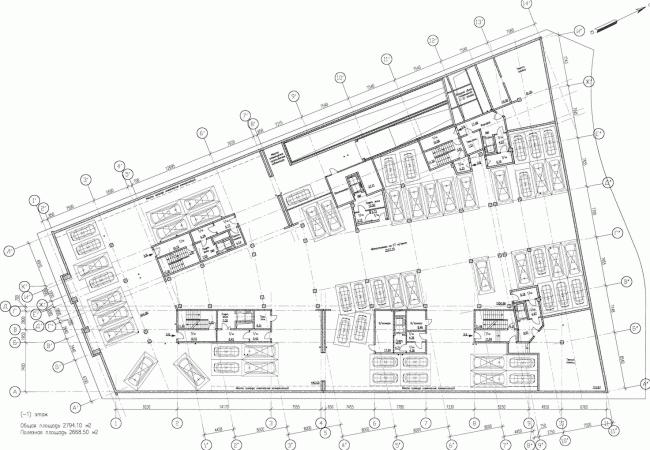 Многоквартирный дом со встроенными помещениями на Морском проспекте. Интерьер. Проект, 2014. План -1 этажа © Евгений Герасимов и партнеры