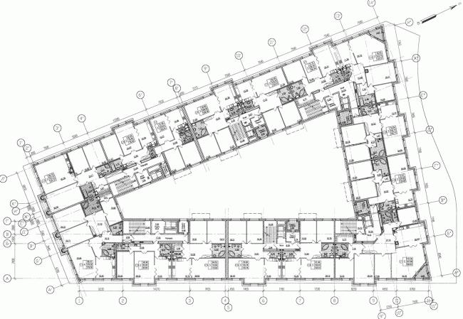 Многоквартирный дом со встроенными помещениями на Морском проспекте. Интерьер. Проект, 2014. План 3 этажа © Евгений Герасимов и партнеры