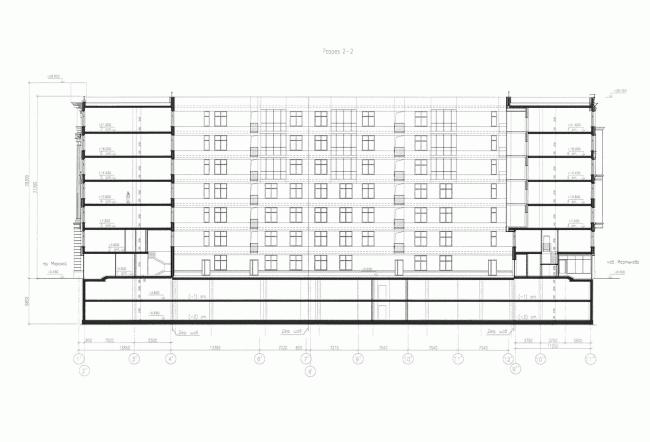 Многоквартирный дом со встроенными помещениями на Морском проспекте. Интерьер. Проект, 2014. Разрез © Евгений Герасимов и партнеры