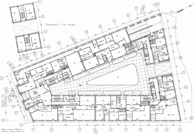 Многоквартирный дом со встроенными помещениями на Морском проспекте. Интерьер. Проект, 2014. План 1 этажа © Евгений Герасимов и партнеры