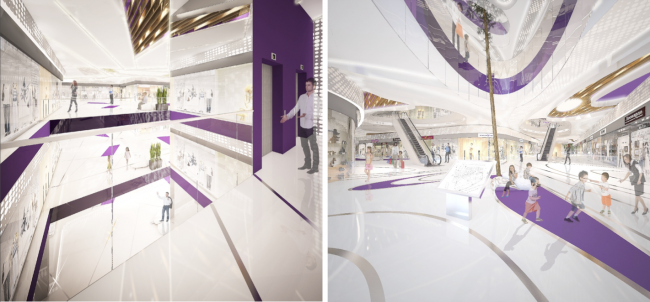 "Interiors of the shopping and entertainment center ""Atlas"" in Odintsovo and ""Atlaspark"" in Zhukovsky © UNK project"