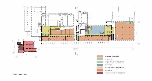 Реконструкция фабрики «Даниловская мануфактура» под деловой центр в стиле LOFT. План 1 этажа © Сити-Арх