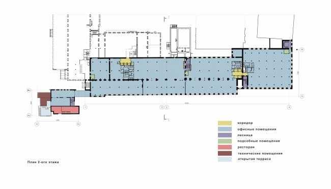 Реконструкция фабрики «Даниловская мануфактура» под деловой центр в стиле LOFT. План 2 этажа © Сити-Арх